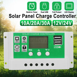 20a/30a Solar Charge Controller Solar Panel Battery Regulator With Dual Usb Port