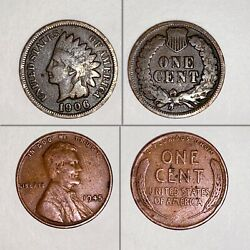 1906 Indian Penny And 1945 Lincoln Wheat Cent.