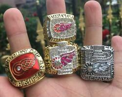 4pcs Detroit Red Wings Stanley Cup Team Ring Souvenirs Set With Wooden Box Gift