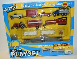 Ertl 1/64 Scale 45 Pc Farm Toy Playset With Lean-to