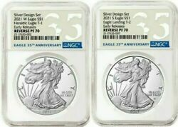 American Eagle 2021 One Ounce Silver Reverse Proof Two-coin Set Ngc Pf 70