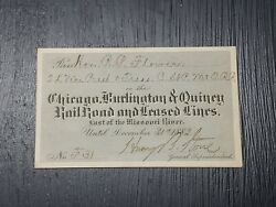 Vintage Rare 1882 Chicago Burlington And Quincy Railroad Pass East Of Mississippi