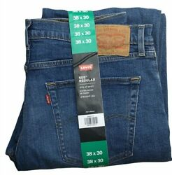 Leviand039s 505 New Menand039s Size 38 X 30 Medium Wash Straight Leg Red Tab Stretch Jeans