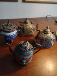 Lot X 4 Antique Vintage Asian Pots Decorative Only Not For Use Elephant Silver