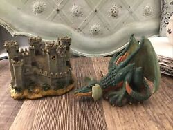 Dragon And Castle Figurines Green Dragon Large Ears