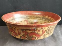 Pre Columbian Pottery Polychrome Decorated Mayan Bowl