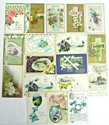 Antique Early 1900's Postcards Easter Flowers Greetings Cards Lot Of 18