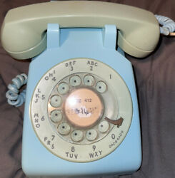 Bell System Wester Electric Rotary Phone Vintage Used Classic Untested Wire Blue