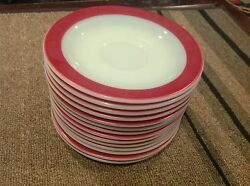Vintage Pyrex Red Banded 6 Plate Lot Of 14 Plates