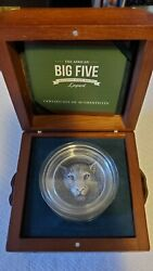 2018 Big Five Leopard 5 Oz High Relief Silver Coin Ivory Coast Very Rare