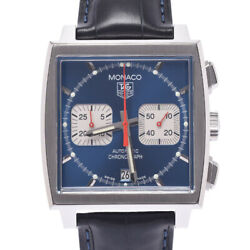 Auth Tag Heuer Watch Monaco Cw2113.fc6183 Automatic Blue Case37mm Ss Leather