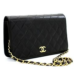 C98 Authentic Full Flap Chain Shoulder Bag Clutch Black Quilted Lambskin
