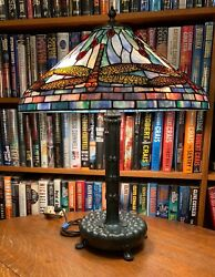 Antique Studios Reproduction Dragonfly Leaded Glass Lamp Library Base
