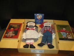 Raggedy Ann And Andy Dolls And Books In A Wooden Case Coa-books Inscribed Inside+htf