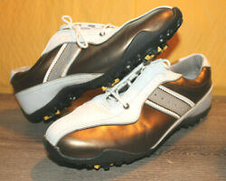 New Footjoy Lopro Womans Golf Shoes Cleats Size 9 White Bronze Womens Nwob