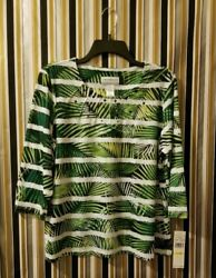 Alfred Dunner Womenand039s Top Cayman Islands Fern Biadere Knit Sizepm Msrp 56.00