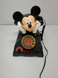 Vintage Collectable Mickey Mouse Push Dial Telephone Alarm Clock Am/fm Radio