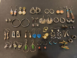 Vintage Sterling Silver Lot Of 30 Pairs Of Earring