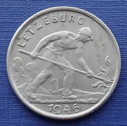Luxembourg 1 Franc Coin, 1946 Fire Puddler, Km46.1cuni 5gvf538
