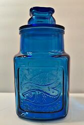 Vtg Wheaton Blue Glass Canister Container Jar Lid Heart Fish 10.75andrdquo Size Rare