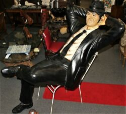 Life Size Blues Brothers Elwood Huge Statue Sitting In Metal Chair, Rare