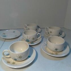Franciscan Earthenware Atomic Starburst 6 Saucers 5 Flat Cups, Teacups And Saucers