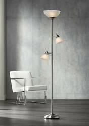 Modern Torchiere Floor Lamp Brushed Steel Frosted Glass Shades For Living Room
