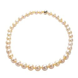 10k Yellow Gold Pearl Beads Necklace Strand Women Gift For Fine Jewelry Size 18
