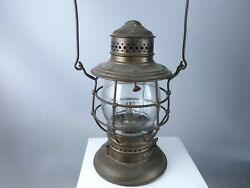 1880's Cornwall Railroad Company Conductors Lantern Crr All Brass With Hand Etch