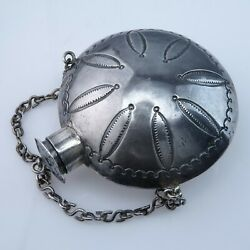 Antique Navajo Sterling Silver Tobacco Canteen Flask