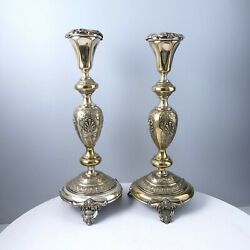 C1870 Judaica Shabbat 15 Candlesticks By Norblin And Co Warsaw Poland