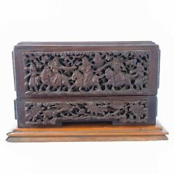 Chinese Antique Carved Wood Buddhist Scroll Box On Stand
