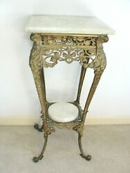 Antique Ornate Die Cast Brass Footed Side Table Plant Stand Marble Top Victorian