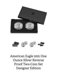 2x American Eagle 2021 One Ounce Silver Reverse Proof Two-coin Set Designer Ed
