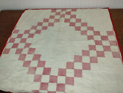 Vintage Tattered Lap Baby Quilt Red White Cutter Farmhouse 37 X 37