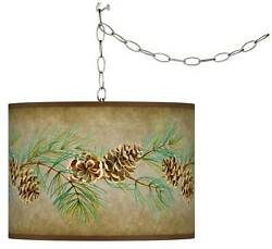Cone Branch Giclee Glow Plug-in Swag Pendant