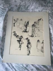 Vintage Signed Lavi Daniel Ink Drawing On Paper 70's Hippies Life