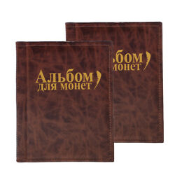 2x 250 Coins Collecting Holders Storage Money Penny Pockets Album Book Brown