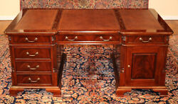Gorgeous Flame Mahogany Tooled Leather Partners Desk With File Drawer
