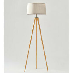 Brightech Emma 60 Tall Standing Led Light Tripod Floor Lamp, Wood For Parts