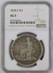 Usa Trade Dollar 1878-s Silver T1, Ngc Ag3, San Francisco Mint, United States