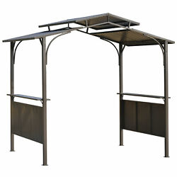 Outdoor Bbq Grill Patio Canopy Gazebo Tent Shelter W/ 2 Side Shelves Brown