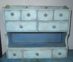 8 Drawer Painted Vintage Spice Cabinet/box/cupboard/apothecary/chest-blue Paint