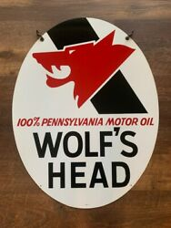 Original 1970 Wolfand039s Head Motor Oil Oval Steel Double-sided 30 X 23 Sign