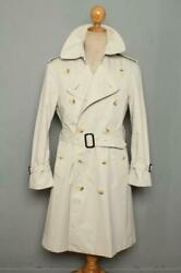 Mens Double Breasted Trench Coat Mac Uk/usa Beige 38