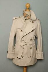 Mens Double Breasted Short Trench Coat Mac Uk/usa 36 Small