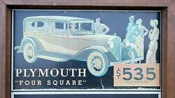 Vtg Plymouth Four Square Advertising Chalkboard Sign C1960's-70's Masonite Wood