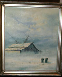 Winter Barn And Two Milk Cans, Oil On Canvas Jorge Tarallo Braun,framed 22wx25l