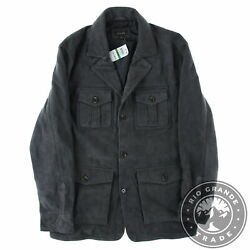 New Tasso Elba Men's Button Down Military Jacket In Gray Suede - Large