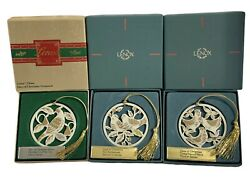 3 Lenox 12 Days Of Christmas Ornaments 3 French Hens 2 Turtle Doves Partridge